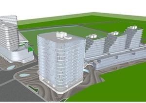 南京葛洲坝招商国际广场建筑与景观SU(草图大师)模型