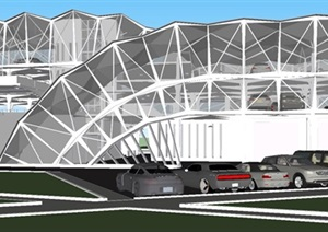 现代四层造型新颖的立体停车楼建筑方案SU(草图大师)模型