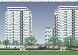 苏州中海上华琚小区建筑与景观方案SU(草图大师)模型