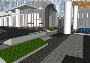 南京招商国际金融中心?汉中公馆建筑与景观方案SU(草图大师)模型
