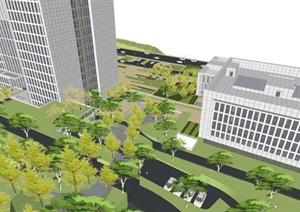 贵州普安山地办公中心建筑与景观规划方案SU(草图大师)模型