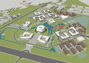 北化工新校区建筑规划设计方案SU(草图大师)模型