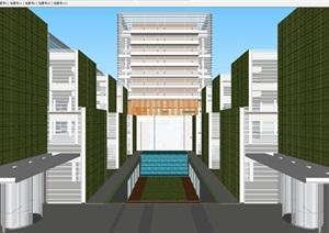 上海现代风格科莱恩化工总部研发大楼建筑设计方案SU(草图大师)模型