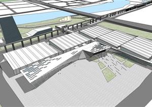 广东潭州国际会展中心建筑设计方案SU(草图大师)模型