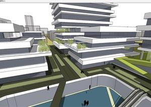上海杨浦某地产商业与办公园区建筑概念方案SU(草图大师)模型