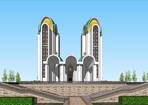 2个欧式教堂建筑设计方案SU(草图大师)模型