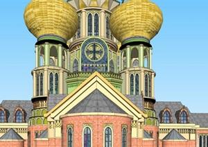 俄式教堂建筑方案SU(草图大师)模型