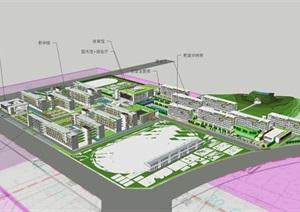 广州新石滩中学建筑方案SU(草图大师)模型