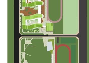 2个合肥滨湖新区南宁路初级中学建筑与景观方案SU(草图大师)模型
