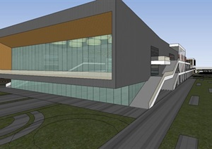 沧州高中学校项目建筑与景观方案SU(草图大师)模型