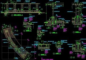 弧形单柱花架廊素材设计cad施工图