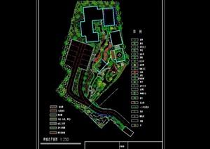 詳細的庭院綠化設計cad總平面圖