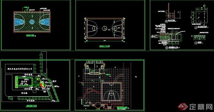 籃球場完整詳細設計cad施工圖