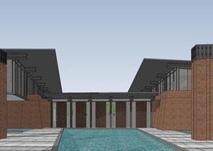 红砖风格综合办公会所建筑与景观方案SU(草图大师)模型