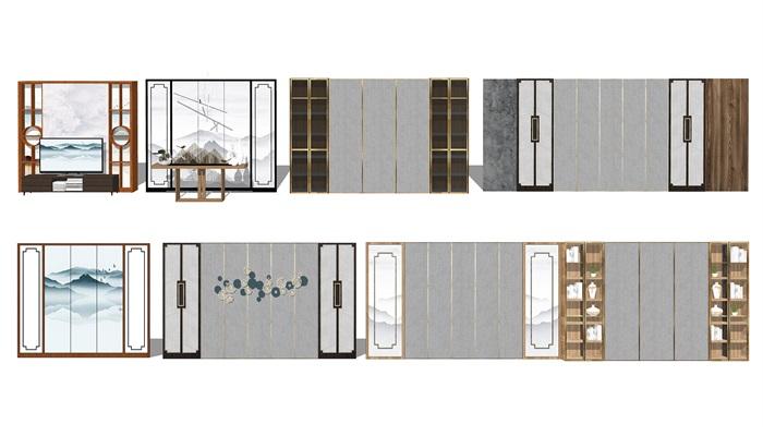 新中式背景墙屏风隔断su模型(1)