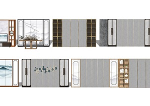 新中式背景墙屏风隔断SU(草图大师)模型