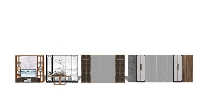 新中式背景墙屏风隔断su模型(2)