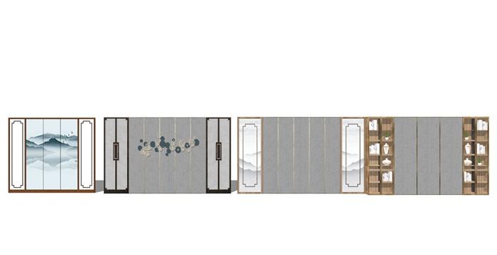 新中式背景墙屏风隔断su模型(3)