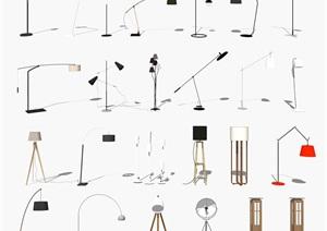 現代落地燈 燈具 燈SU(草圖大師)模型
