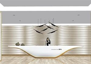 现代风格酒店前台 服务台 接待台 办公室前台 背景墙SU(草图大师)模型
