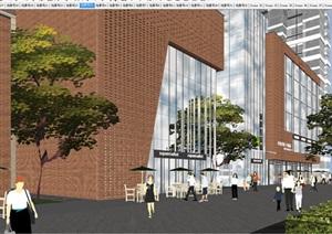 祥园红砖风格沿街商业 售楼展示中心建筑方案SU(草图大师)模型