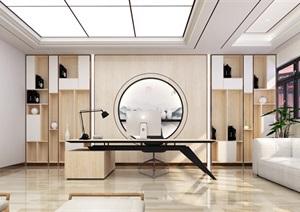 新中式办公室办工桌椅背景墙SU(草图大师)模型