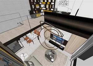 现代LOFT公寓室内精装设计方案SU(草图大师)模型