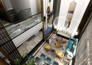 loft户型客餐厅室内豪华装潢设计方案SU(草图大师)模型
