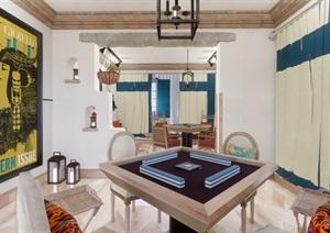 美式民宿(客房 棋牌室 餐厅与包间 会议室)室内装潢设计方案SU(草图大师)模型