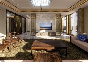 豪华中式怡景花园四层别墅室内设计方案SU(草图大师)模型