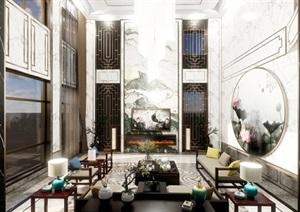 中式别墅室内豪华装潢设计方案SU(草图大师)模型