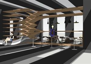 现代时尚咖啡厅室内设计方案SU(草图大师)模型