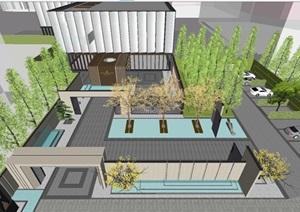 郑州尚建新亚洲风格售楼处景观与室内装饰方案SU(草图大师)模型