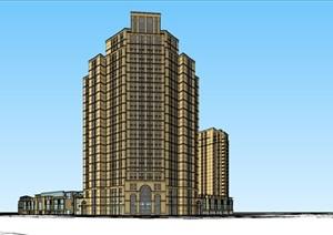 某转角商业 高层住宅古典建筑风格SU(草图大师)精细模型