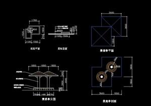 景觀亭完整設計cad施工圖
