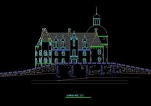 古堡住宅建筑设计cad方案图