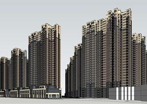 某古典风格大型住宅小区SU(草图大师)精细模型