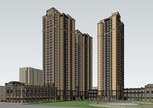 某古典风格高层住宅和底层商业SU(草图大师)精细模型