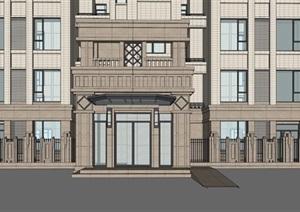 某新古典风格高层双拼住宅SU(草图大师)精细模型