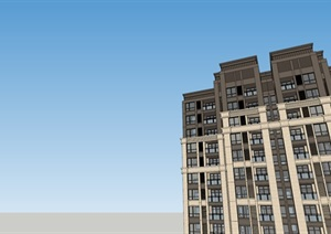 某新古典高层住宅 含户型SU(草图大师)精细模型