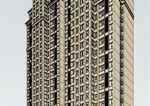 某新古典高层住宅SU(草图大师)精细模型