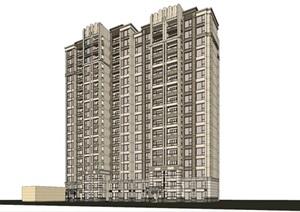 某新古典高层住宅SU(草图大师)精致模型