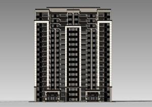 某新古典小高层1梯2户 带户型SU(草图大师)精细模型