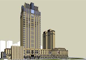某新古典综合体 银行 商业街 超市 高层住宅SU(草图大师)精细模型
