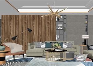 現代客廳沙發茶幾組合 背景墻SU(草圖大師)模型