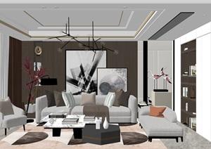 現代客廳沙發茶幾組合 落地燈 裝飾畫SU(草圖大師)模型