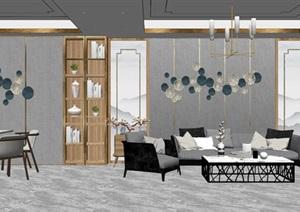 現代室內客廳餐廳沙發茶幾組合SU(草圖大師)模型