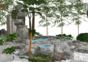 新中式假山水景 庭院景觀 假山 石頭 景觀樹 植物景觀小品SU(草圖大師)模型
