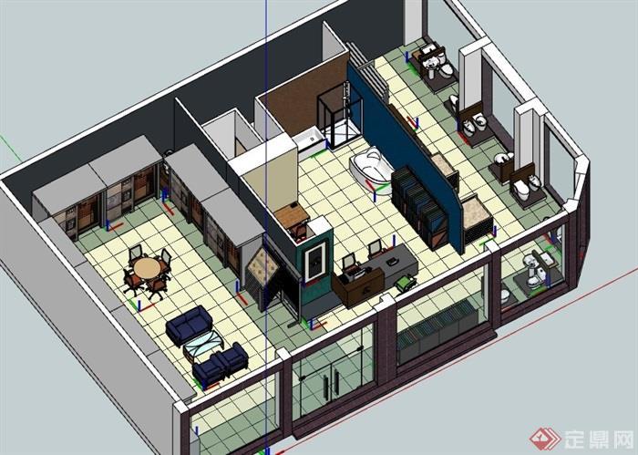 建材店详细室内空间设计su模型