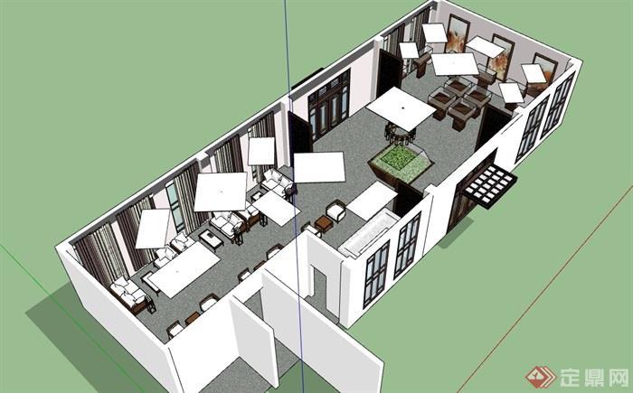 售楼处详细室内整体装饰SU模型